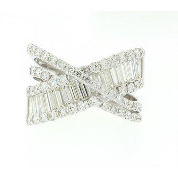 Baguette & Round Criss Cross Diamond Ring