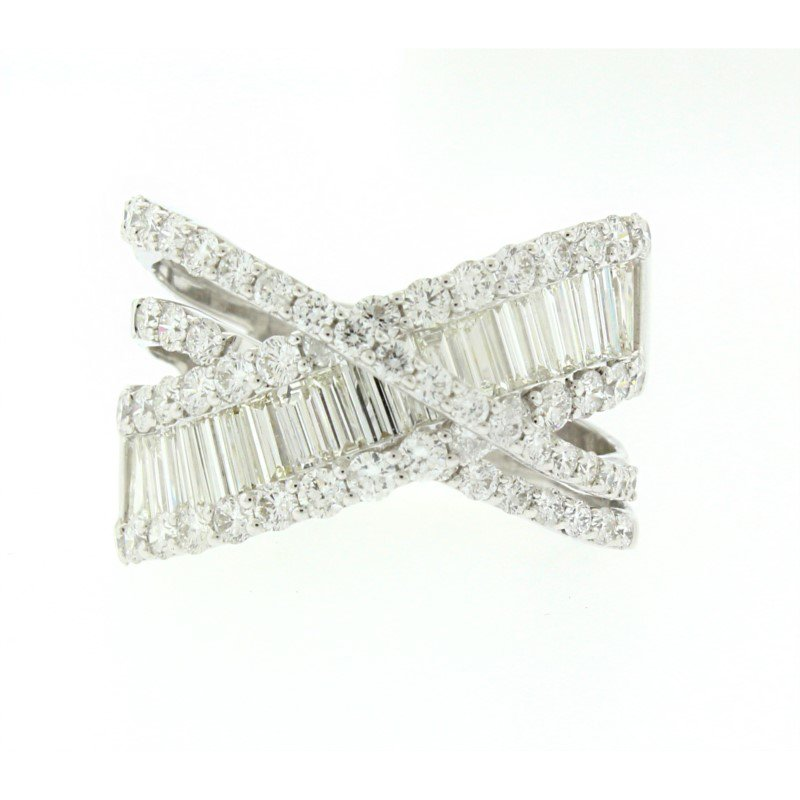 Kelley Collection  Baguette & Round Criss Cross Diamond Ring