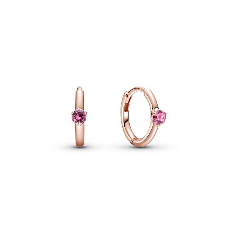 PANDORA Pink Solitaire Huggie Hoop Earrings
