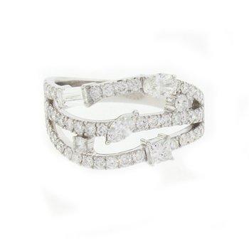 Three-Row Diamond Ring