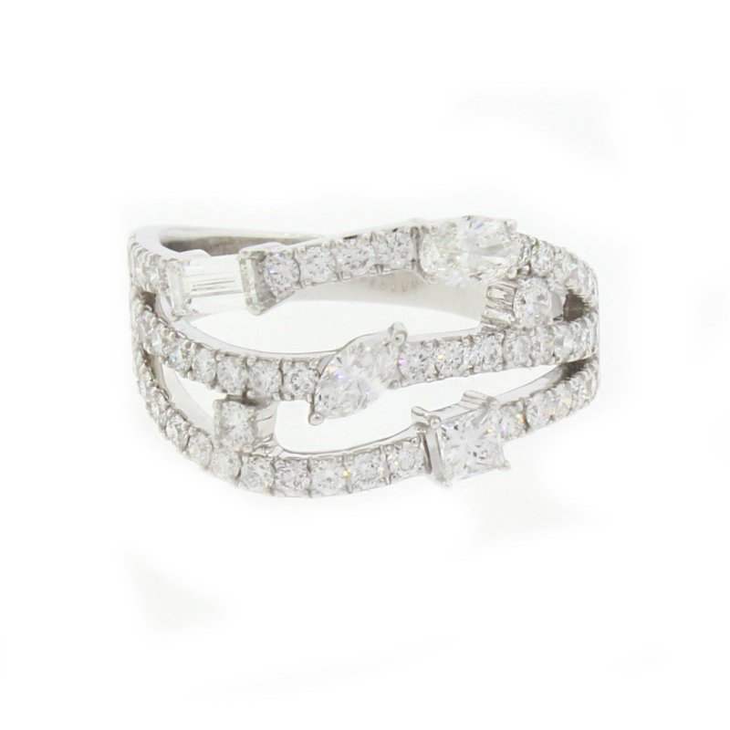 Kelley Collection  Three-Row Diamond Ring