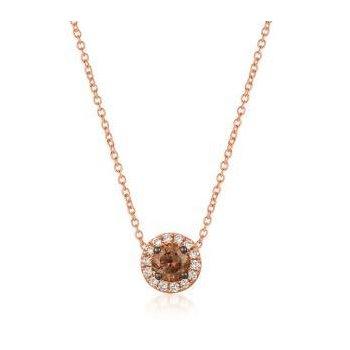 14K Strawberry Gold® Pendant with Chocolate & Vanilla Diamonds®
