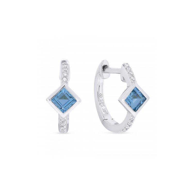 Kelley Collection  Blue Topaz & Diamond Huggie Earrings