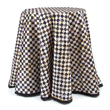 "90"" Round Courtly Check Tablecloth - Black Trim"