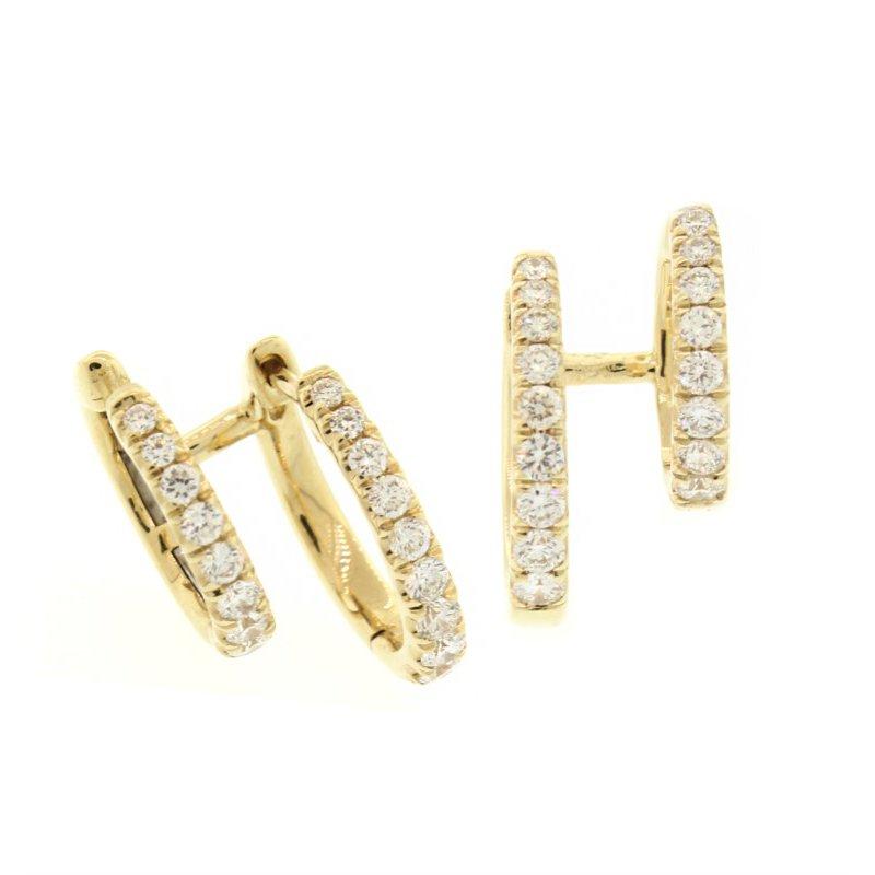 Gabriel NY Fine Jewelry Diamond Huggie Hoops With Ear Cuff