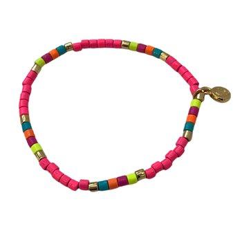 Seashore Tube Bracelet - Neon Pink Multi