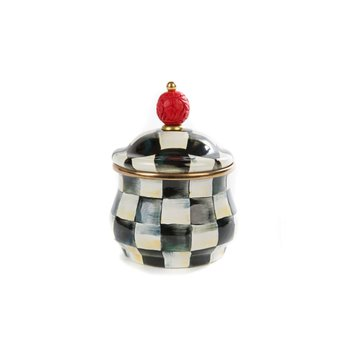 Courtly Check Enamel Lidded Sugar Bowl
