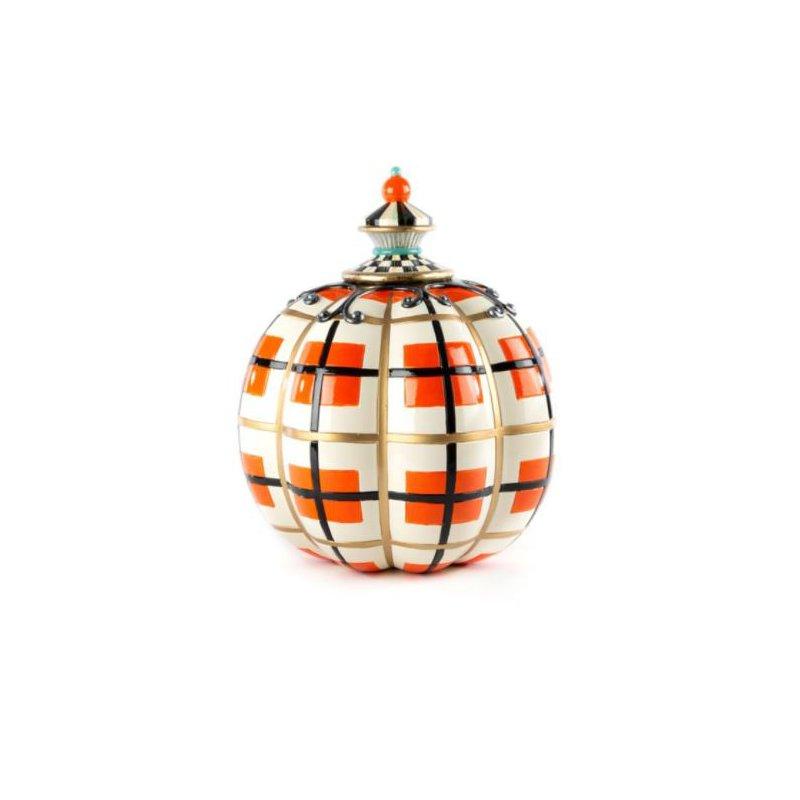 MacKenzie-Childs Tartan Spice Pumpkin - Orange Plaid