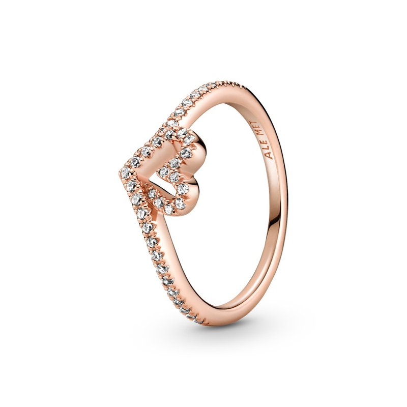 PANDORA Sparkling Wishbone Heart Ring
