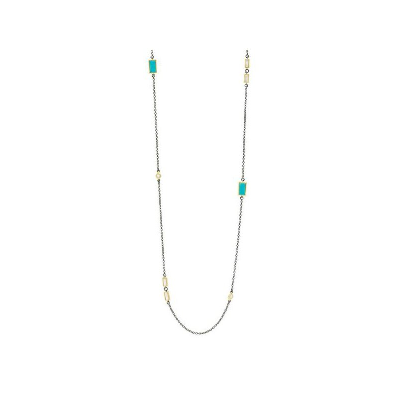 Freida Rothman Multi-Stone Station Long Strand Necklace