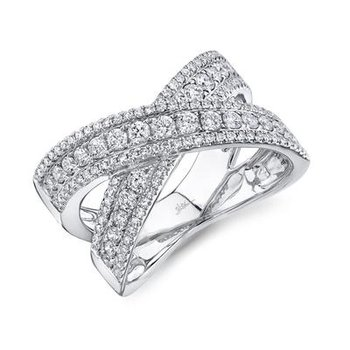 Diamond 3-Row Criss Cross Ring