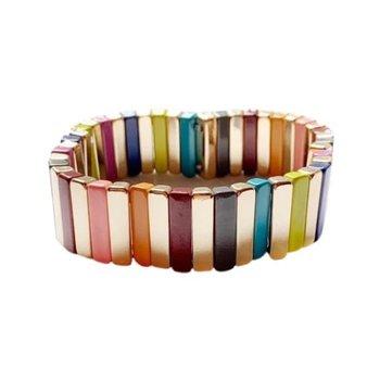 Tile Bracelet Gold/Rainbow Bar Large