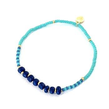 Surfside Beaded Bracelet - Navy/Turquoise