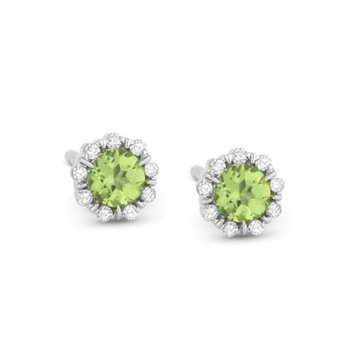 Peridot & Diamond Studs