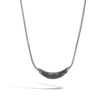 Classic Chain Necklace with Black Sapphire and Black Spinel
