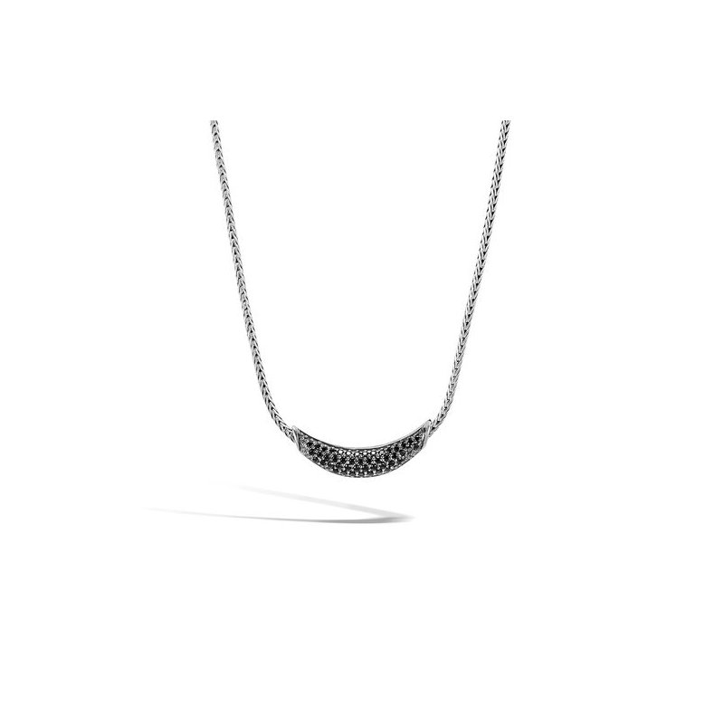 John Hardy Classic Chain Necklace with Black Sapphire and Black Spinel