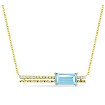 Blue Topaz & Diamond Bar Pendant