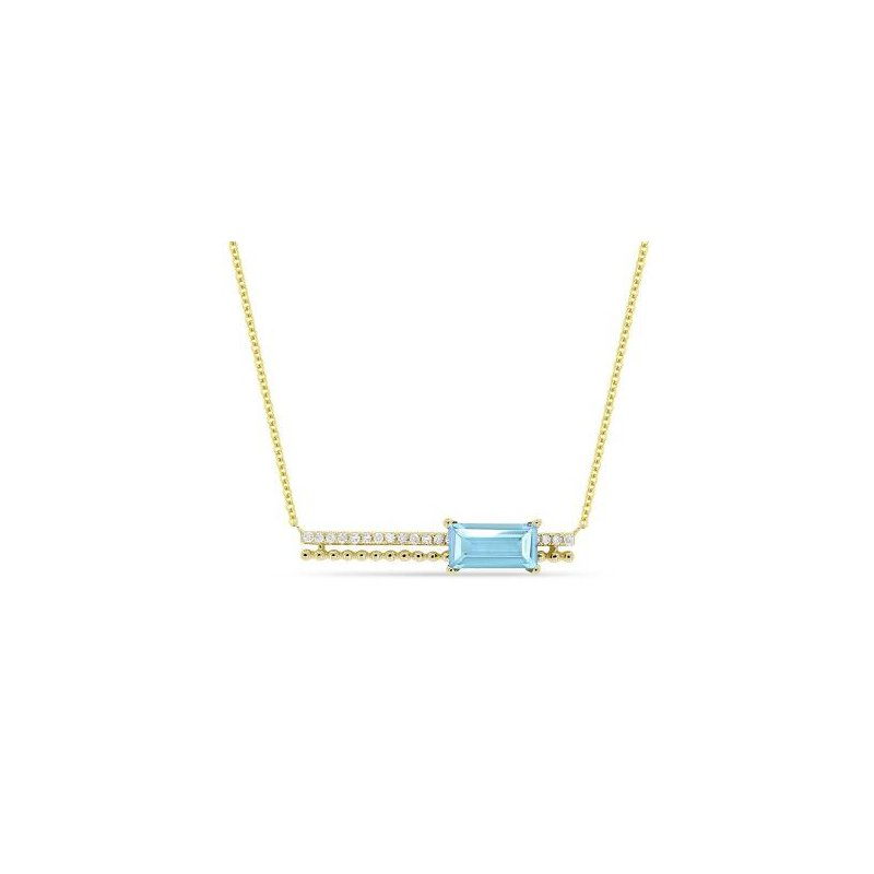 Kelley Collection  Blue Topaz & Diamond Bar Pendant