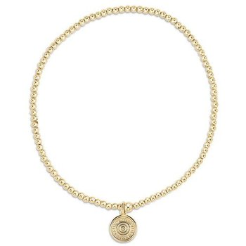 Classic Gold 2mm Bead Bracelet - Athena Mini Gold Charm