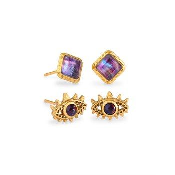 Gemma Stud Earrings in Mauve Abalone (Set of 2)
