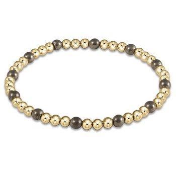 Gold Sincerity Pattern 4 mm Bead Bracelet-Sodalite