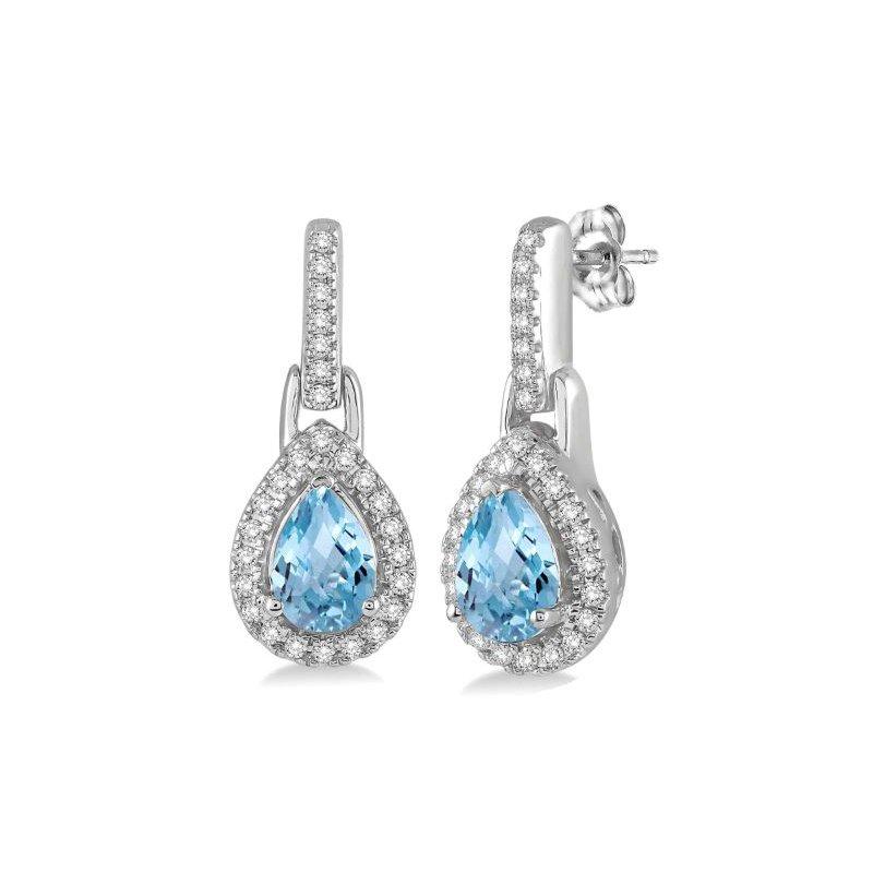 Kelley Collection  Aquamarine & Diamond Earrings