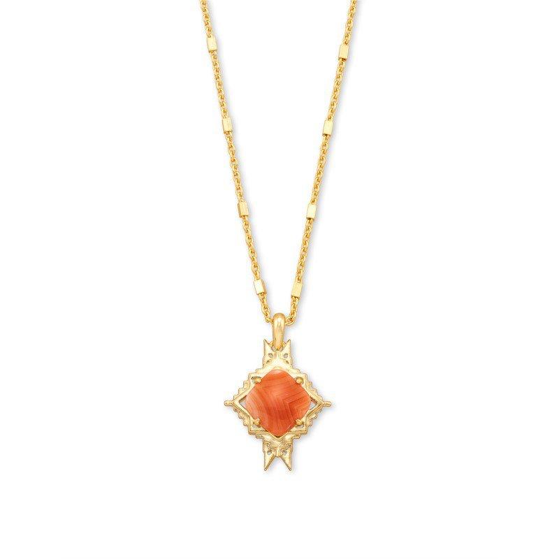 Kendra Scott Cass Long Pendant in Orange Banded Agate