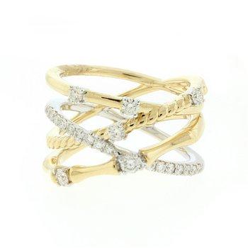 Criss Cross Rope & Bamboo Diamond Ring