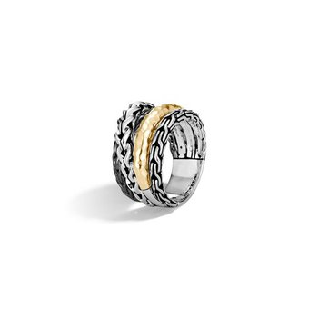 Asli Classic Chain Link Hammered Crossover Ring
