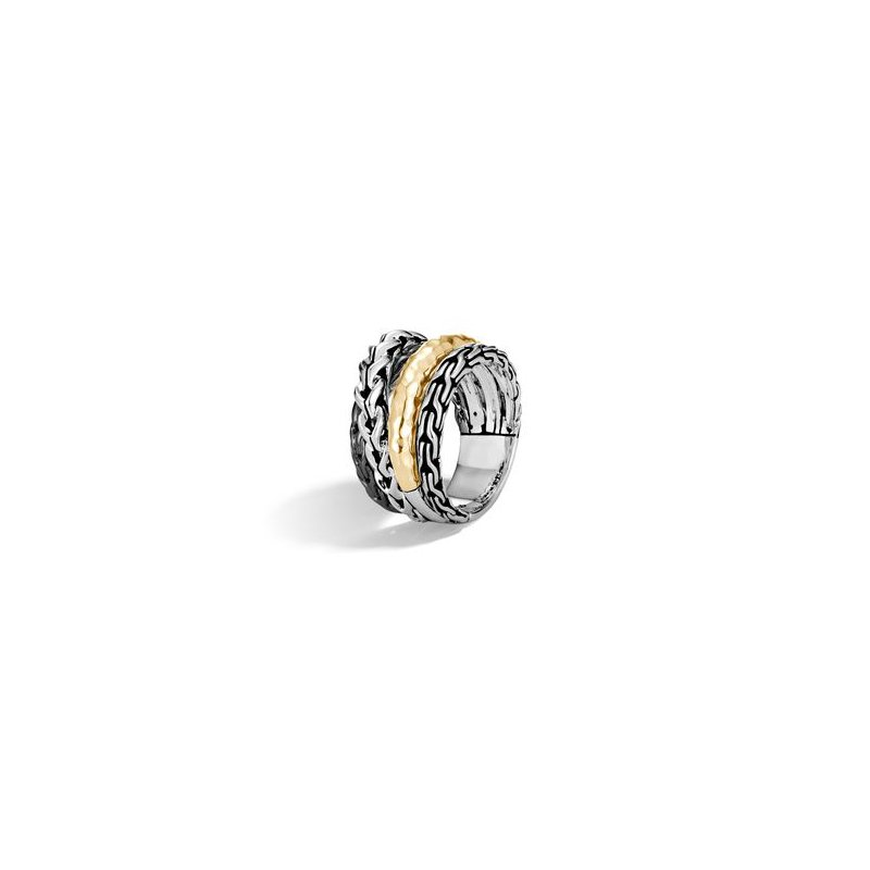 John Hardy Asli Classic Chain Link Hammered Crossover Ring