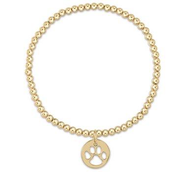 Classic Gold Bead Bracelet - Paw Print