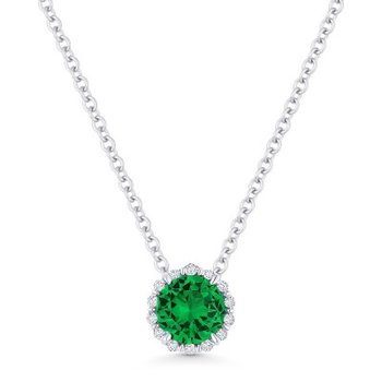 Emerald & Diamond Halo Pendant