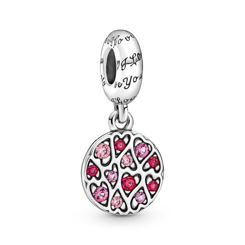 PANDORA Sparkling Heart Pattern Dangle Charm