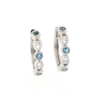 Blue Topaz & Diamond Hoop Earrings