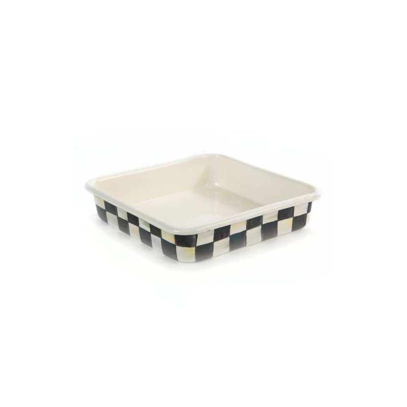 """MacKenzie-Childs Courtly Check Enamel Baking Pan - 8"""""""