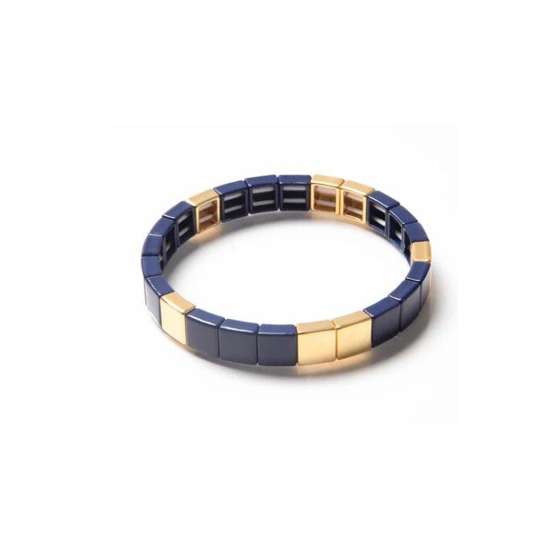 Caryn Lawn Tile Bead Bracelet-Navy/Gold