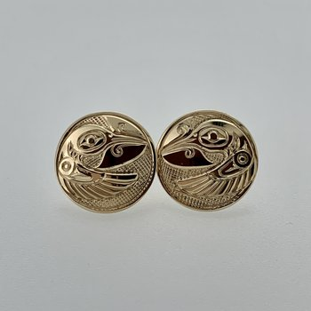 Round Hummingbird Button Earrings