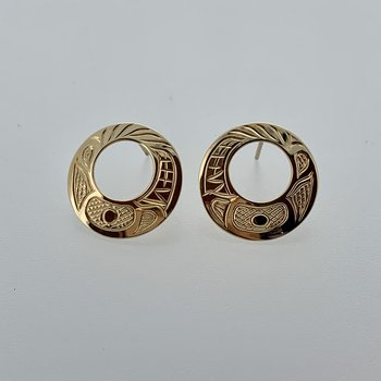 Cut out Round Wolf stud Earrings