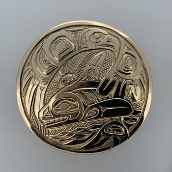 Large Eagle and Killerwhale Round Pendant
