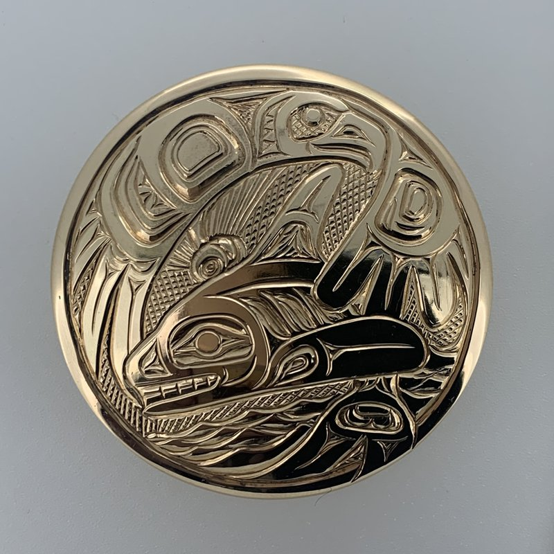 First Nations Jewellery Large Eagle and Killerwhale Round Pendant