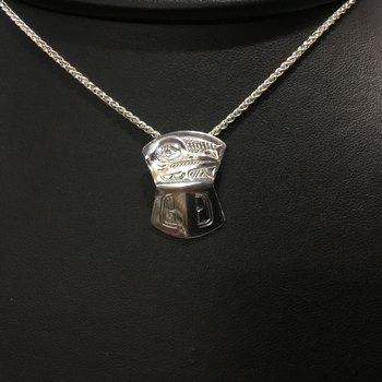 Sterling sliver hummingbird shield pendant