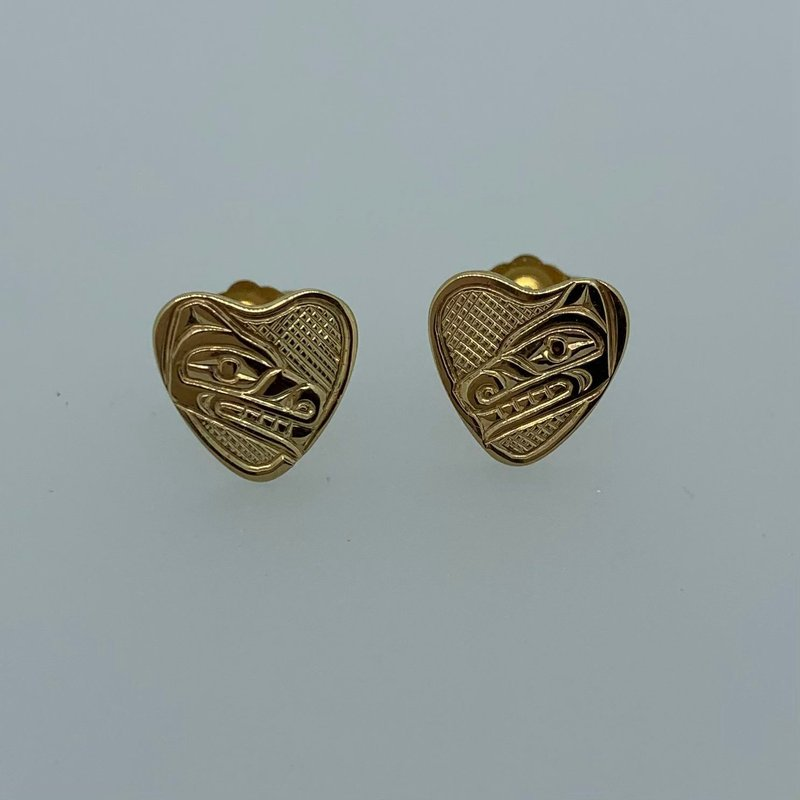 First Nations Jewellery Wolf Heart Stud Earrings