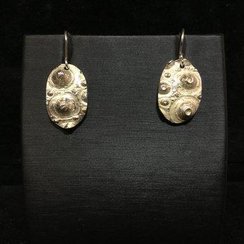 Sterling Sliver oval urchin earrings