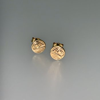 Small Frog Button Earrings by Ron Jackson
