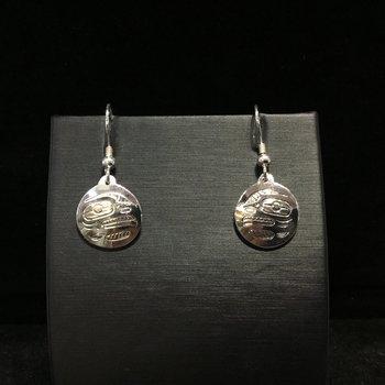 Sterling Sliver round dangle eagle earrings by John Sterritt