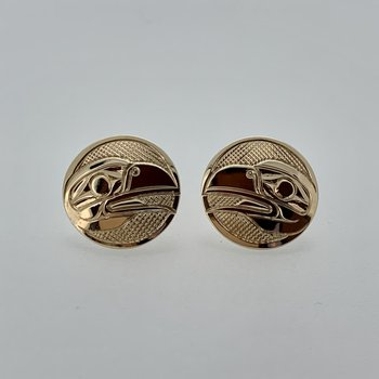 Round Raven Button Earrings