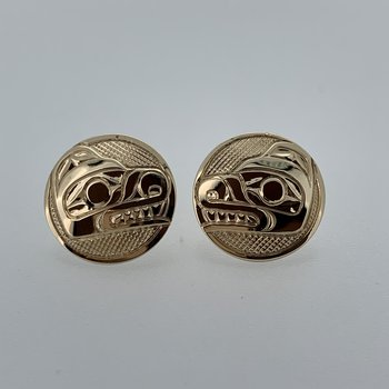 Round Bear Button Earrings