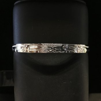 """Sterling sliver double killerwhale 1/4"""" bracelet by John Sterritt"""
