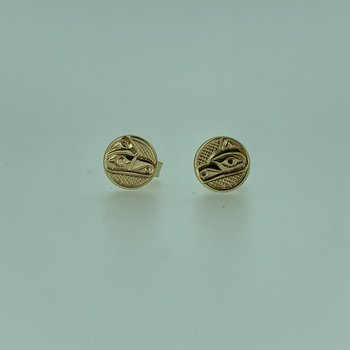 Small Wolf button Earrings by Ron Jackson