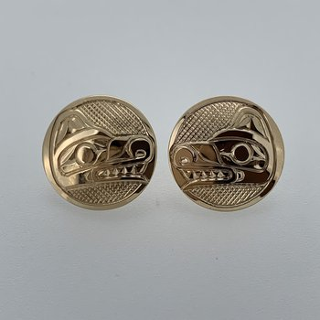 Round Wolf Button Earrings